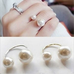 Pearl Ring Gold or Silver Women's Jewlery Bling